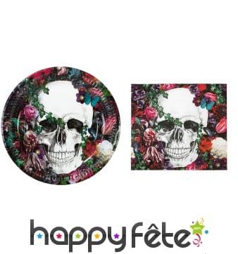 Déco de table Dia de los muertos fleuri