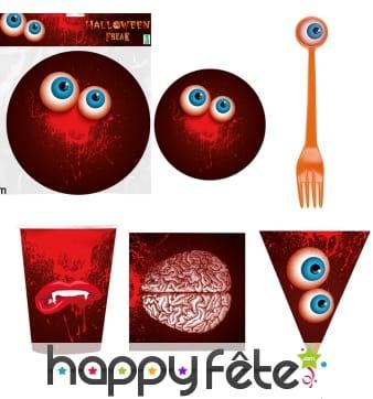Déco de table Halloween yeux, cerveau et sang