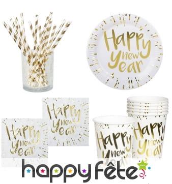 Déco de table Happy New Year blanche et dorée