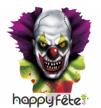 Décor découpé tête de clown diabolique