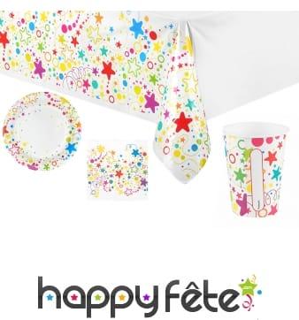 Décoration de table étoiles multicolores