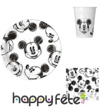 Décoration de table Mickey Mouse noir et blanc