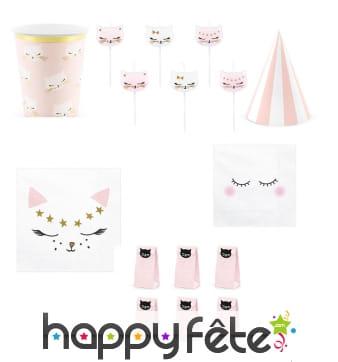 Décoration de table petit chat rose