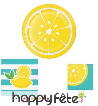 Décorations de table motifs citrons