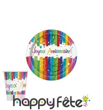 Décos de table imprimé Joyeux anniversaire