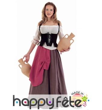 Déguisement de tenancière Médiévale avec corset
