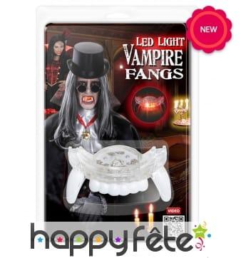 Dentier de vampire lumineux pour adulte
