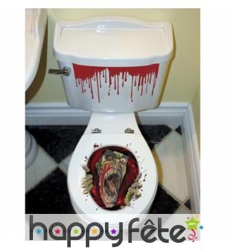 Décoration de wc zombie et sang, autocollants