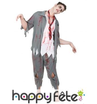 Déguisement de zombie blanc et gris