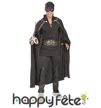 Déguisement de Zorro avec longue cape pour adulte