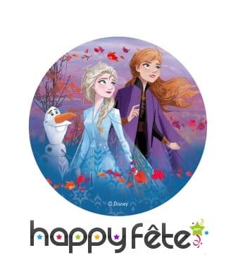 Disque Elsa, Anna et Olaf en azyme de 20 cm