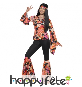 Déguisement femme hippie imprimé fleuri orangé