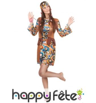 Déguisement femme hippie motifs années 60