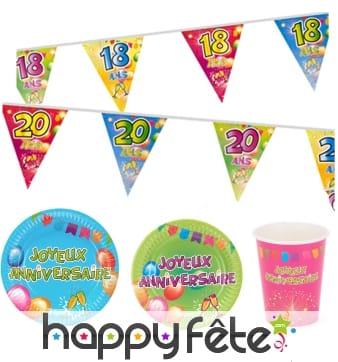 Décos Fiesta joyeux anniversaire colorées