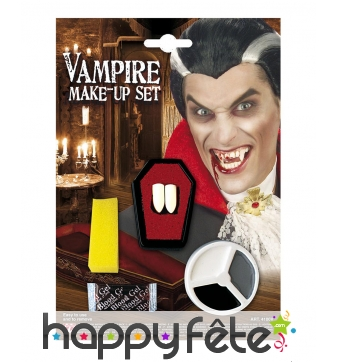 Dents, faux sang et maquillage de vampire