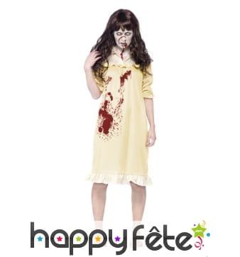 Déguisement femme zombie en robe de nuit