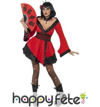 Déguisement geisha gothique rouge