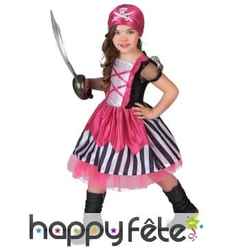 Déguisement girly rose de pirate pour fillette