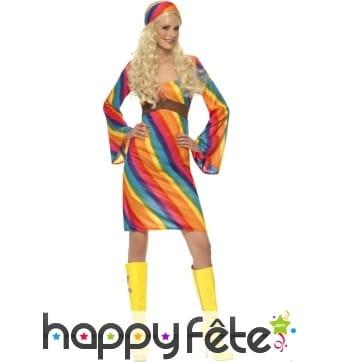 Déguisement hippie femme arc en ciel