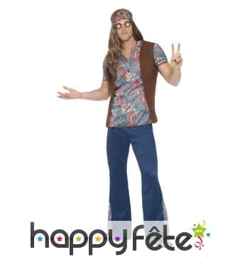 Déguisement hippie homme imprimé bleu