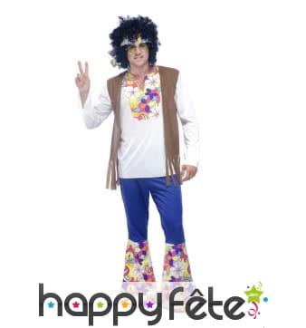 Déguisement hippie patte d'eph fleuries