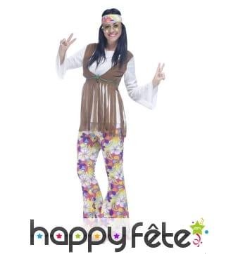 Déguisement hippie pour femme, pantalon fleuri