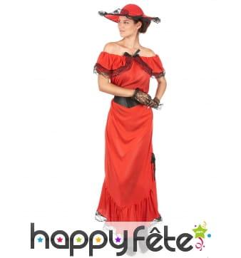 Déguisement longue robe rouge droite années 50
