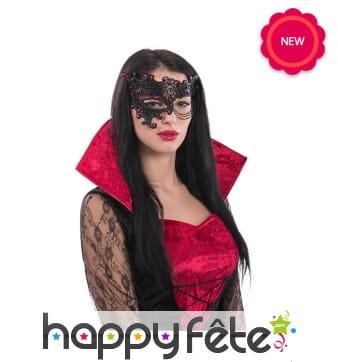 Demi-masque baroque rouge et noir