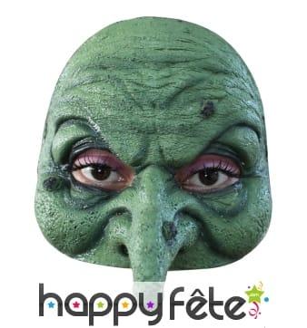 Demi masque d'horrible sorcière verte