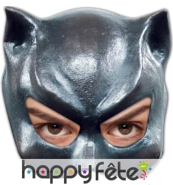 Demi masque de chat en latex, pour femme