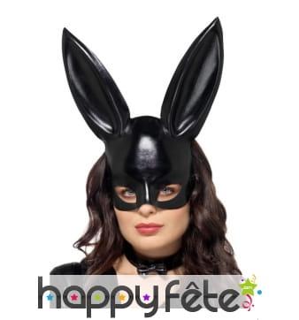 Demi masque de lapin noir sexy avec collier