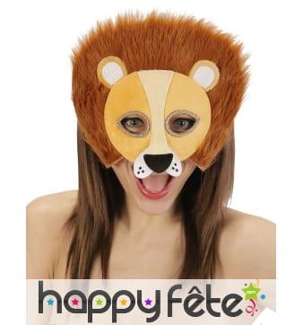 Demi masque de lion en peluche pour adulte