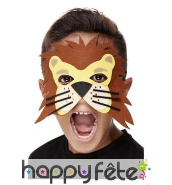 Demi masque de lion marron pour enfant