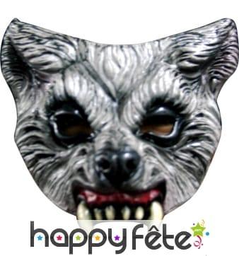 Demi-masque de loup garou en latex