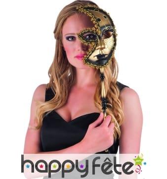 Demi-masque doré vénitien sur tige