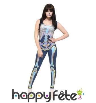 Déguisement moulant et coloré de squelette sexy