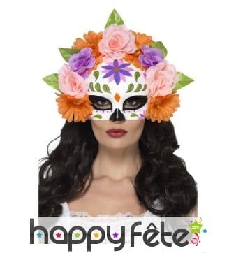 Demi masque floral jour des morts