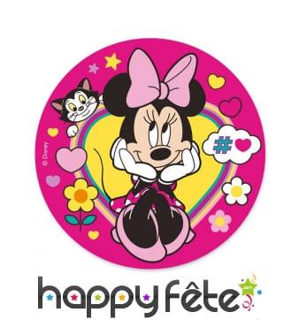 Disque Minnie Mouse sur fond rose en azyme, 20 cm