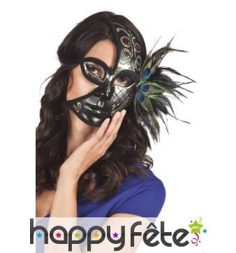 Demi masque noir avec plumes de paon