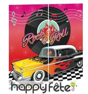 Décoration murale rock'n roll, voiture et disque