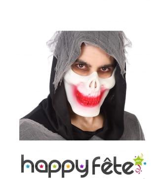 Demi masque squelette avec bouche ensanglantée