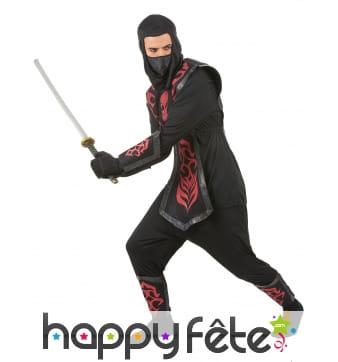 Déguisement noir de ninja avec motifs rouges