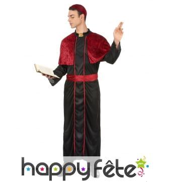 Déguisement noir de prêtre avec capeline rouge