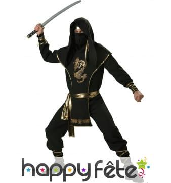 Déguisement noir doré de ninja, prémium