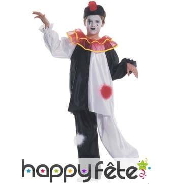 Déguisement noir et blanc de petit Pierrot