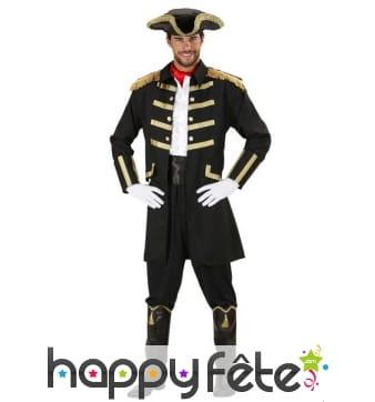 Déguisement noir et doré de capitaine pirate