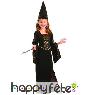 Déguisement noir et doré de magicienne pour enfant