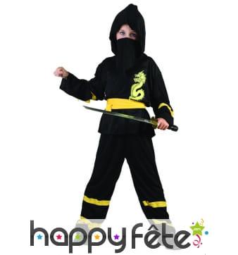 Déguisement noir et jaune de ninja pour garçon