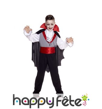 Déguisement noir et rouge de vampire pour enfant
