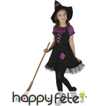 Déguisement noir et violet de petite sorcière